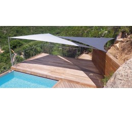 Voile d'ombrage Triangle BLANC 5 x 5 x 5 Mètres
