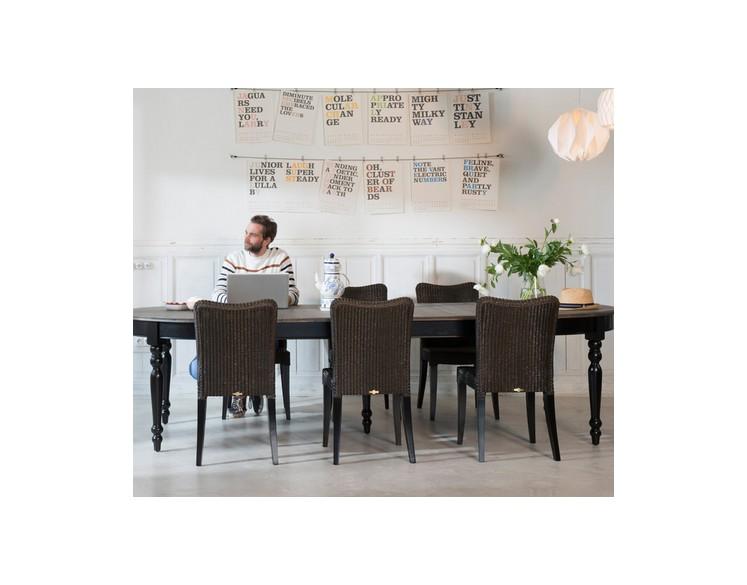 Table rectanglaire Noire VERSAILLES extensible jusqu'à 280 cm
