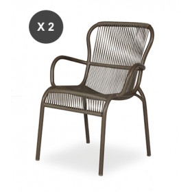 Lot de 2 fauteuils de repas LOOP Taupe et Beige  Vincent Sheppard