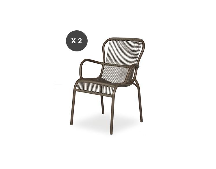 Lot de 2 fauteuils de repas LOOP Taupe - Vincent Sheppard