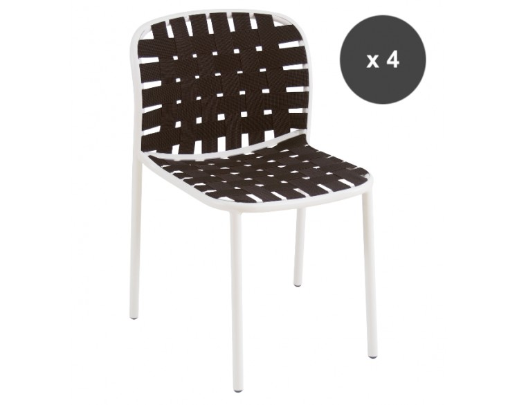 Lot de 4 Chaises blanches /marron  YARD - EMU