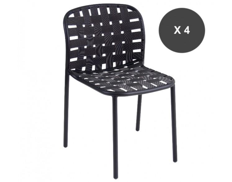 chaise aluminium noire yard pour l 39 ext rieur tr s confortable. Black Bedroom Furniture Sets. Home Design Ideas
