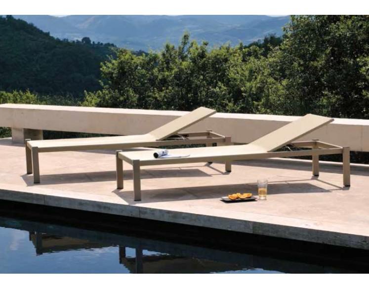 Lit de piscine SHINE avec assise textilène